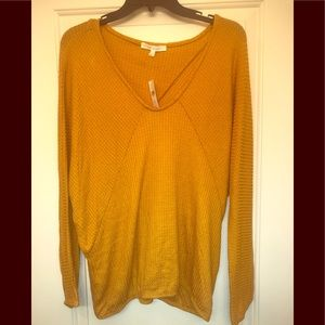 Anthropologie waffle knit top size M